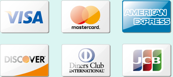 VISA,mastercard,AMERICAN EXPRESS,DISCOVER,Diners Club INTERNATIONAL,JCB